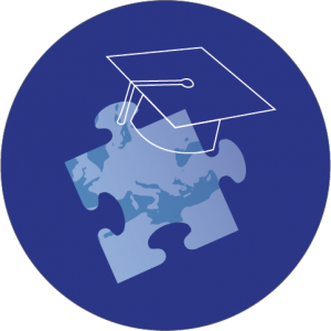 Decorative image with puzzle piece showing part of the globe with a graduation hat on top of it.